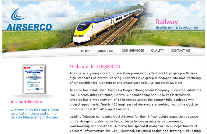 AIRSERCO Industrial Services design and development in ASP